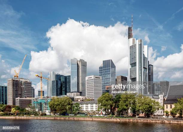 Skyline with modern skyscrapers in Financial District of Frankfurt Am Main, Hesse, Germany