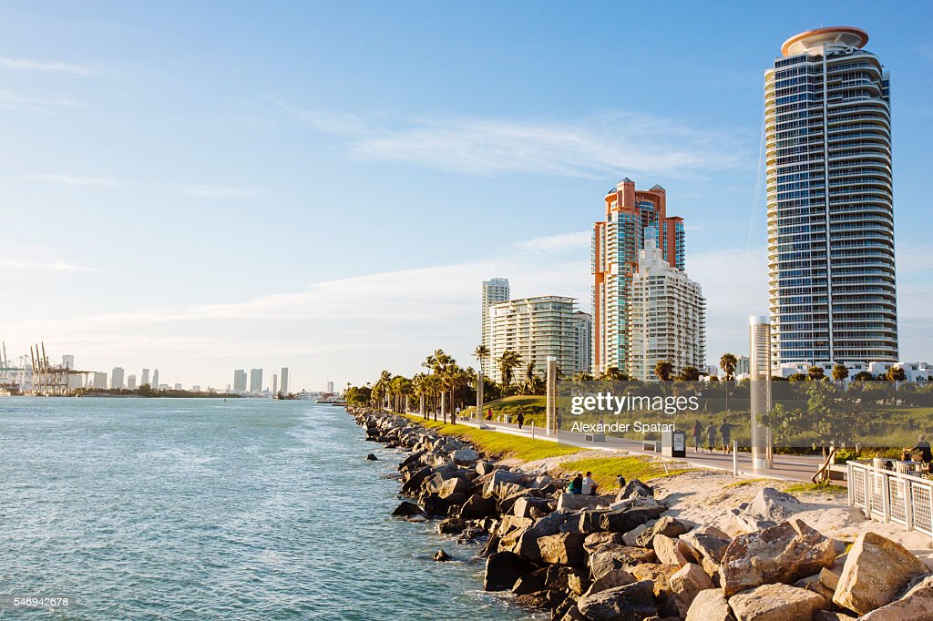 Skyline with residential condos on South Beach, Miami, Florida, USA : Stock Photo