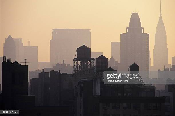 Skyline with water towers and Chrysler Building