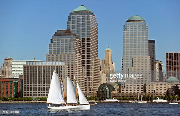Skyline with World Financial Center and sailing boat, New York City, York State, USA