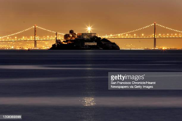 SKYLINE_052_fljpg San Francisco skyline is all dresses up for Christmas with all the triming of colorful holiday lights Alcatraz light house reflects...