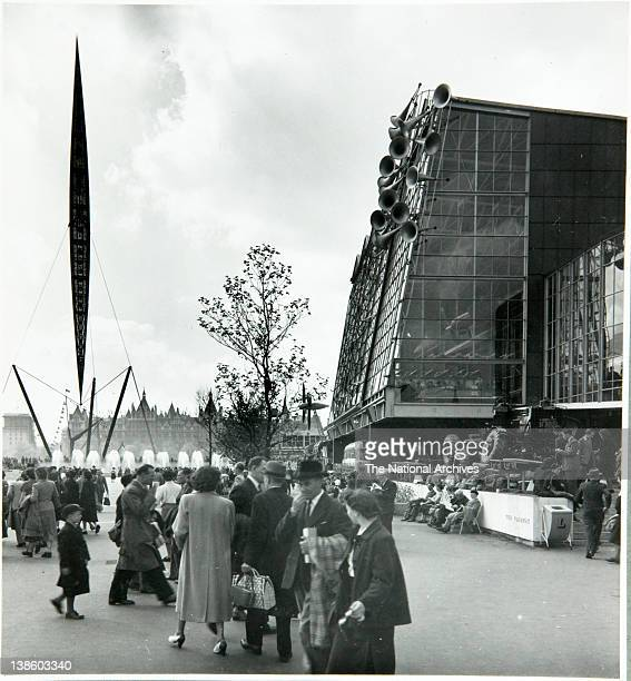 Skylon exterior architectural structure on the South Bank site Festival of Britain 1951