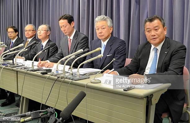 Skymark Airlines President Masakazu Arimori, Skymark Airlines Chairman Takshi Ide, lawyers Makoto Tahira, Takeo Nakahara, investment fund Integral...