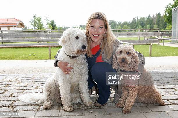 Sky-Moderator Jessica Kastrop as the New VDH-Ambassador for dogs 2016 during the 'HelpingVets' Award For Animal Welfare Projects At Gut Aiderbichl on...