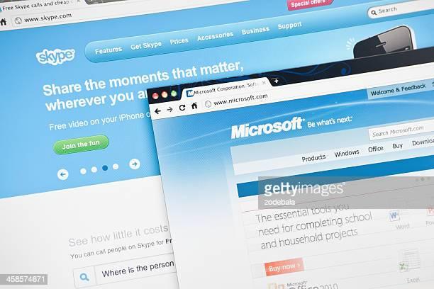 Skype.com and Microsoft.com Homepage