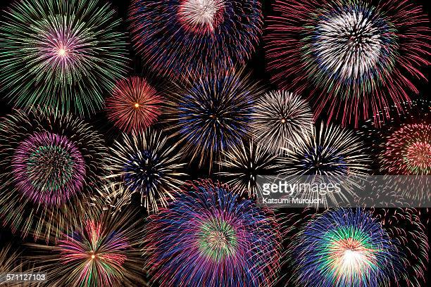 skyrocket collage background - firework display stock pictures, royalty-free photos & images