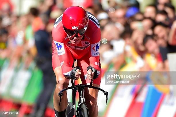 TOPSHOT Sky's British cyclist Christopher Froome sprints to win the 16th stage of the 72nd edition of 'La Vuelta' Tour of Spain cycling race a 402 km...