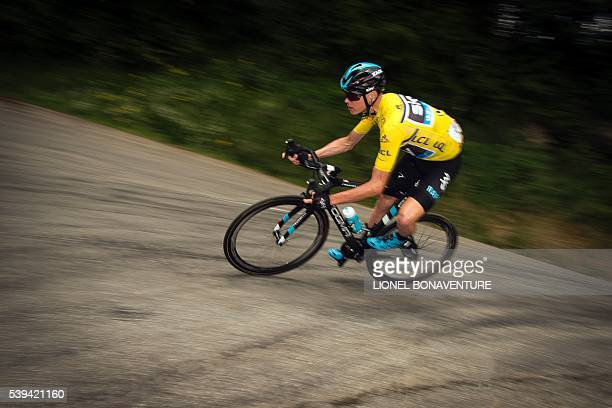 Sky's English rider Christopher Froome rides during the seventh stage of the 68th edition of the Dauphine Criterium cycling race on June 11 2016 in...