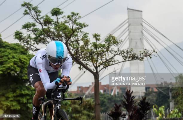 Sky's team Egan Bernal competes during the 2018 Colombian National Cycling Time Trial Championships in Medellin Colombia on February 2 2018 Bernal...