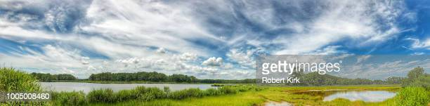 skyscape over wildlife area - bethany beach stock photos and pictures