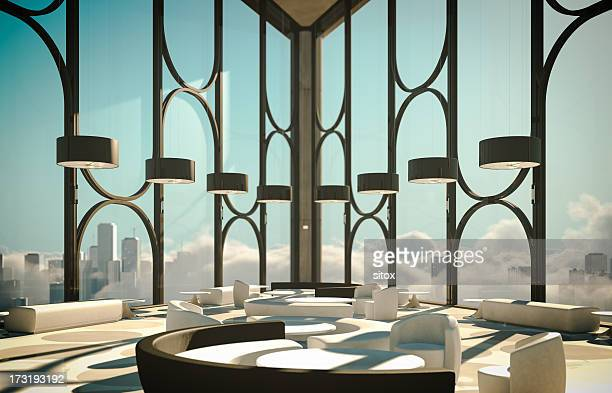 skyscapers modern lobby above clouds and city - hotel lobby stock pictures, royalty-free photos & images