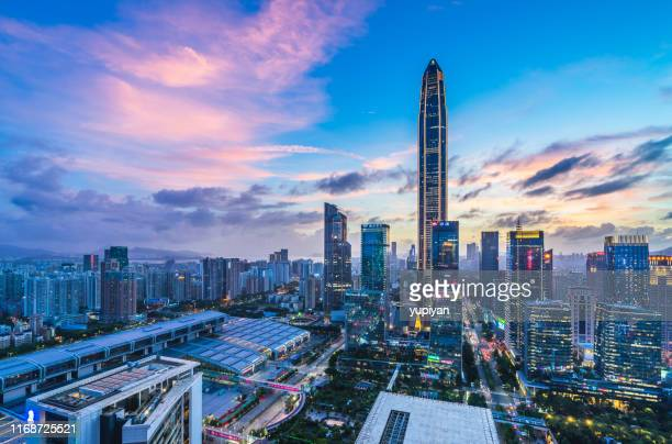 skyscrape of shenzhen city - shenzhen stock pictures, royalty-free photos & images
