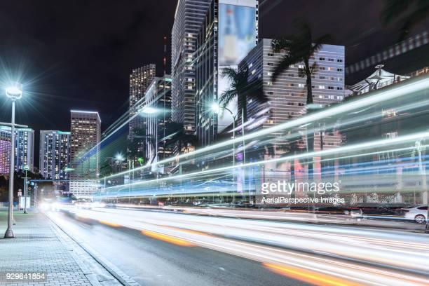 Skyscraper and Light Trail of Miami at Night