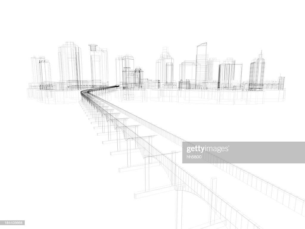 Skyscraper Building Architectural blueprint Wireframe 5 : Stock Photo
