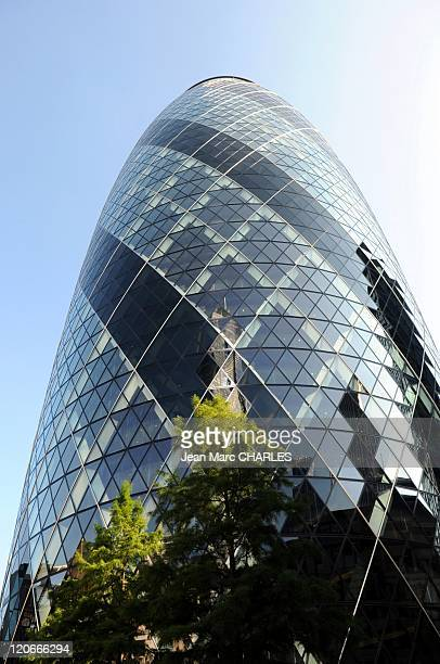 Skyscraper in London United Kingdom on January 01 2010 London's main financial district the City of London the Swiss Re Tower better known as the...