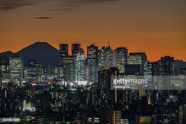 Skyscraper of Nishi-shinjuku area of Tokyo with Mt. Fuji as backdrop