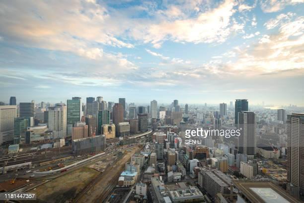 skyscraper of osaka city, view of umeda skyline after sunset - 大阪 ストックフォトと画像