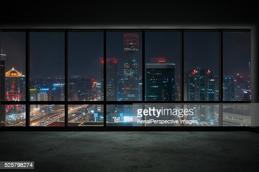 Skyscraper Outside The Windows At Night Beijing China Stock Photo
