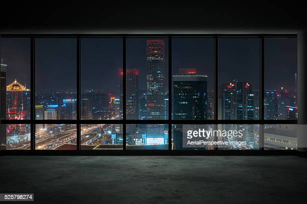 Skyscraper Outside the Windows at Night, Beijing, China