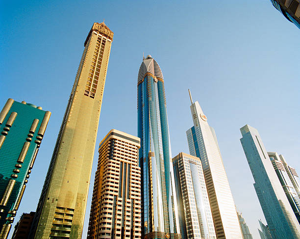 Skyscrapers Along Sheikh Zayed Road At Dusk Wall Art