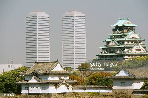 Skyscrapers and a castle in the city, Osaka Castle, Osaka, Japan