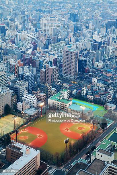 Skyscrapers and baseball ground in Tokyo