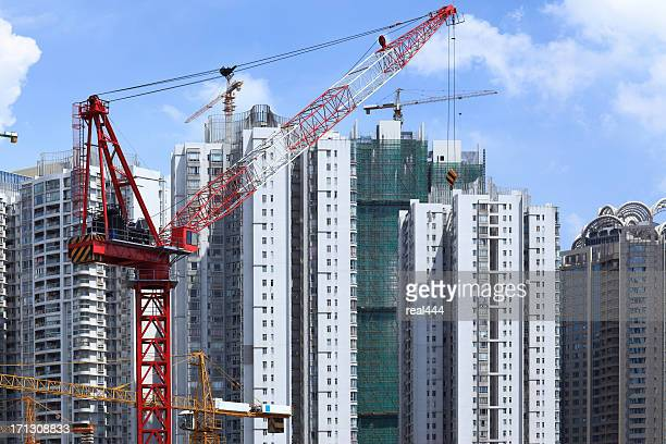 skyscrapers and construction site in guangzhou - crane construction machinery stock pictures, royalty-free photos & images