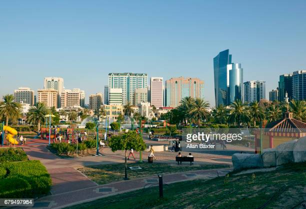 Skyscrapers and family park of Abu Dhabi