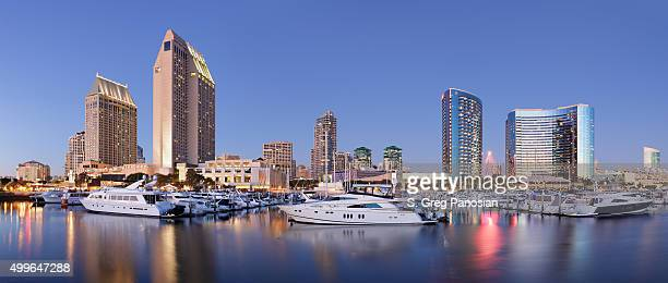 skyscrapers and marina - san diego - marina stock pictures, royalty-free photos & images