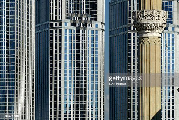 skyscrapers and minaret at levent. - contemporary istanbul foto e immagini stock