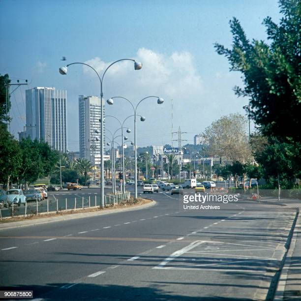 Skyscrapers and modern street at Tel Aviv Israel late 1970s