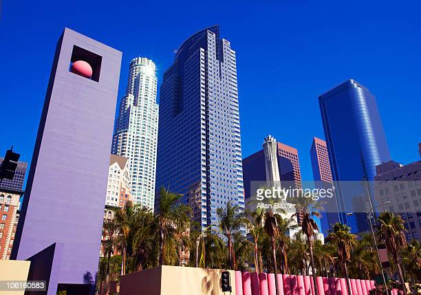 skyscrapers and pershing square in los angeles. - pershing square stock photos and pictures