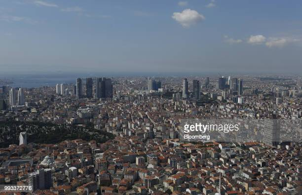 Skyscrapers and residential buildings stand on the skyline seen from the Saphire Tower in western Istanbul Turkey on Friday July 6 2018 Recep Tayyip...