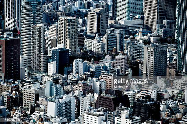 Skyscrapers and small buildings in Simbashi, Tokyo