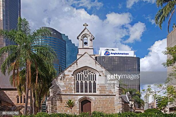 Skyscrapers and the St Stephen's Old Catholic Cathedral / St Stephen's Chapel in the center of Brisbane capital city of Queensland Australia