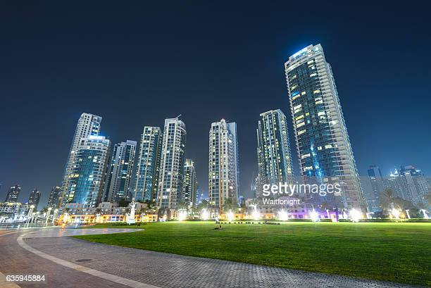Skyscrapers at night in Dubai downtown