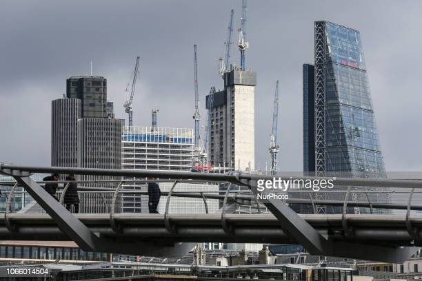 Skyscrapers construction and general building work in London downtown England in the United Kingdom