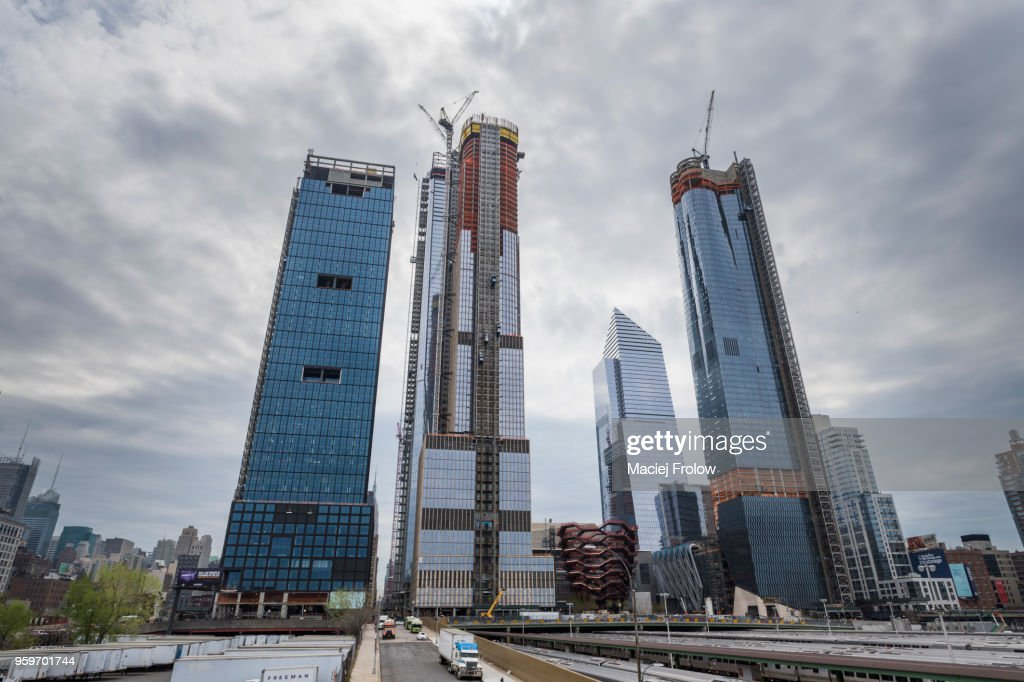Skyscrapers construction site in Manhattan west, Hudson Yards : Stock Photo