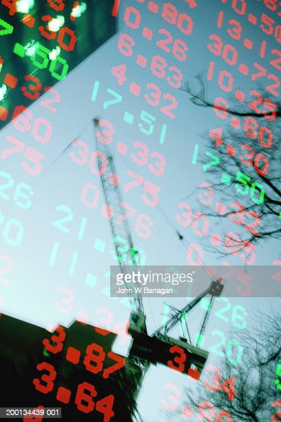 Skyscrapers, crane and financial data (Digital Composite)