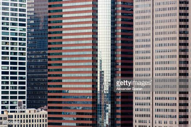 Skyscrapers facades in Manhattan Financial District, New York City, USA