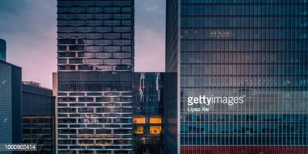 skyscrapers facades - liyao xie stock pictures, royalty-free photos & images