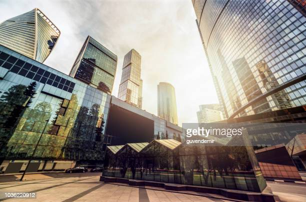 skyscrapers, financial district of moscow - moscow russia stock pictures, royalty-free photos & images
