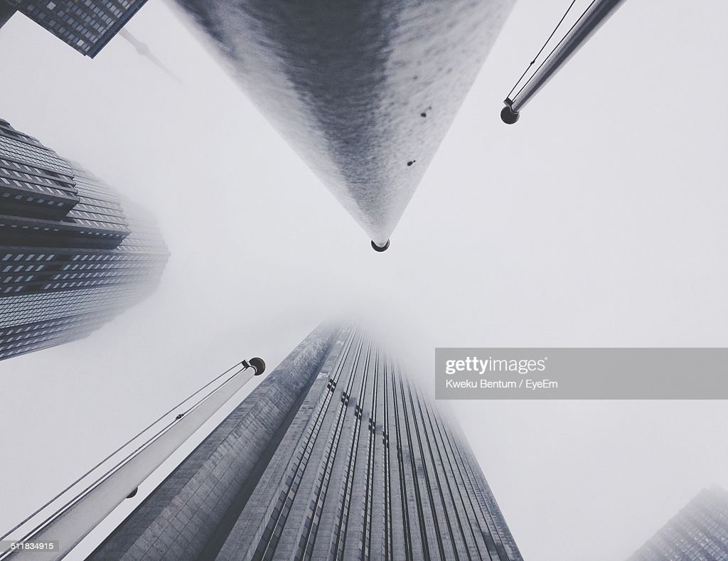 Skyscrapers from a low-angle view : Stock Photo