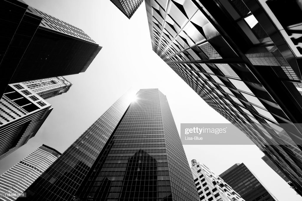 Skyscrapers from Below, Lower Manhattan. : Stock Photo