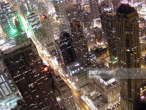 skyscrapers illuminated at night, elevated view - ken ilio stock pictures, royalty-free photos & images