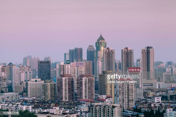 skyscrapers in city - wuhan stock photos and pictures