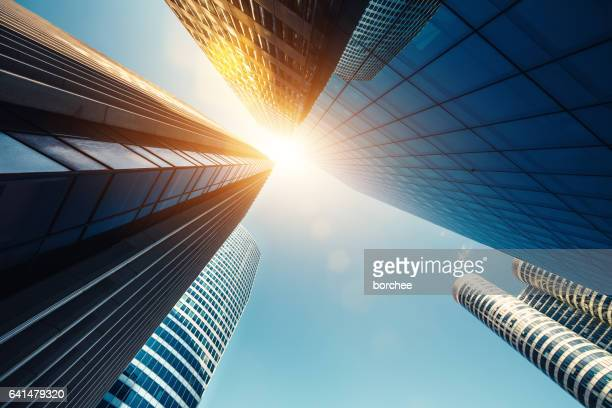 skyscrapers in paris - looking up stock pictures, royalty-free photos & images