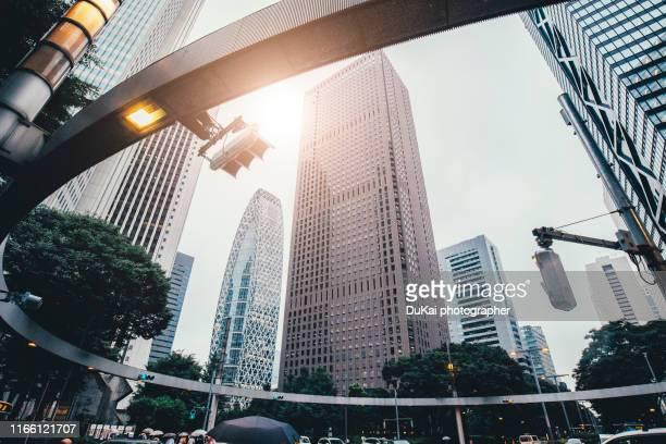 skyscrapers in shinjuku cbd , tokyo - groothoek stockfoto's en -beelden