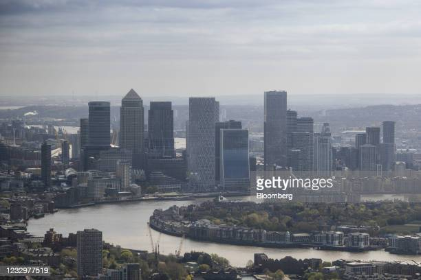 Skyscrapers in the Canary Wharf business, shopping and financial district in London, U.K., on Monday, April 26, 2021. In a financial hub that draws...
