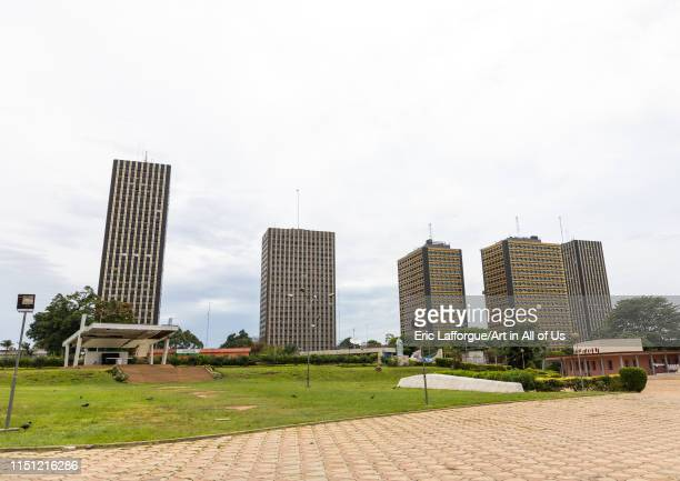 Skyscrapers in the city center, Région des Lagunes, Abidjan, Ivory Coast on May 10, 2019 in Abidjan, Ivory Coast.